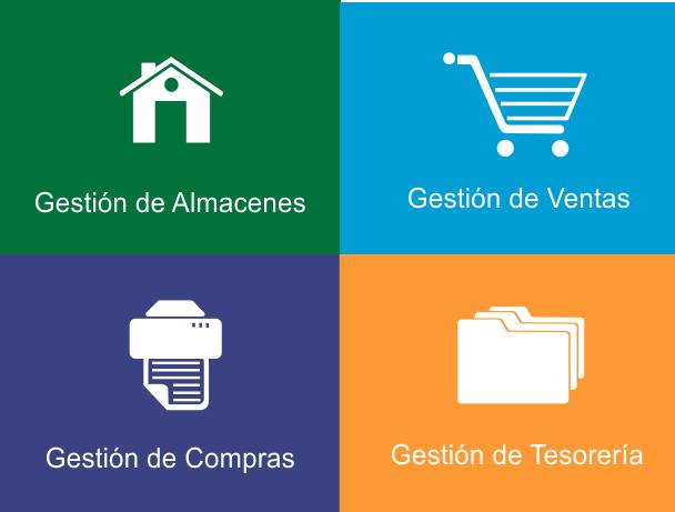 Gestión de almacenes - Gestión de Ventas - Gestión de Compras - Gestión de Tesorería